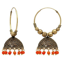 Load image into Gallery viewer, Simple but intricate gold hoops with beautiful orange beads at the bottom. Lightweight and beautiful. The perfect statement piece.
