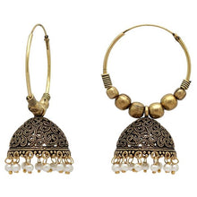 Load image into Gallery viewer, Simple but intricate gold hoops with beautiful white beads at the bottom. Lightweight and beautiful. The perfect statement piece.