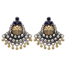 Load image into Gallery viewer, Silver, Gold and Blue Statement Stud Earrings - Perfect for all occasions.