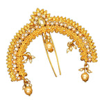 Gold and faux pearl hair accessory to frame and decorate a ponytail or a bun. Perfect for making a statement.