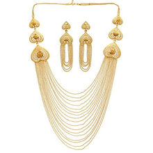 Load image into Gallery viewer, Lightweight and unusual gold chain necklace set with matching earrings. Perfect for parties and special occasions.