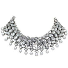 Load image into Gallery viewer, Silver Kundan Necklace perfect for special occasions.