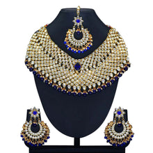 Load image into Gallery viewer, Gold plated gold and royal blue full set with necklace, earrings and tikka. This set is perfect for weddings, parties and special occasions. This is the perfect statement piece.