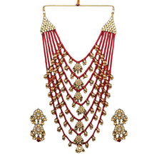 Load image into Gallery viewer, Red Pearl Necklace with Earrings