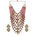 Red Pearl Necklace with Earrings