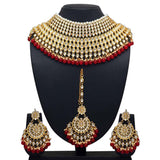 Beautiful heavy gold necklace set with matching earrings and tikka - perfect for brides and anybody who wants to feel totally regal! Perfect statement piece available with white, green or red detailing.