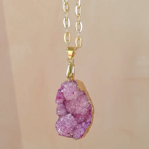 Light Pink Crystal Druzy Necklace