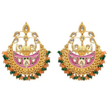 Load image into Gallery viewer, Beautiful handpainted gold, pink and green statement earrings with intricate detail throughout. These earrings are a beautiful statement piece perfect for everyday wear or special occasions.