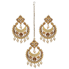 Load image into Gallery viewer, Beautiful gold detail tikka and earring set with faux pearls to make the perfect statement at an event, party or special occasion.