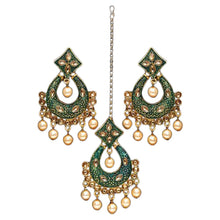 Load image into Gallery viewer, Gold and bottle green tikka and earring set with faux champagne coloured pearl detail. Perfect to make a statement at a special event or party. Beautiful green and gold statement jewellery and hair accessory.