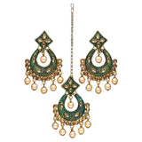 Gold and bottle green tikka and earring set with faux champagne coloured pearl detail. Perfect to make a statement at a special event or party. Beautiful green and gold statement jewellery and hair accessory.
