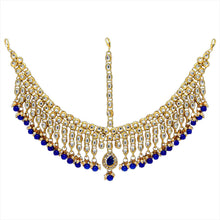 Load image into Gallery viewer, Large gold plated head piece/mathapatti with royal blue detail. Perfect for all special occasions.