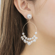 Load image into Gallery viewer, Faux Pearl Hoops