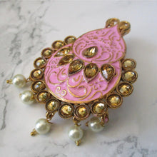 Load image into Gallery viewer, beautiful hand painted pink faux pearl brooch. This brooch is perfect for blazers, jackets and as a saree pin. This pin will make a beautiful statement piece.