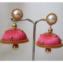 Load image into Gallery viewer, Pink thread pearl earring and stud - perfect for all occasions