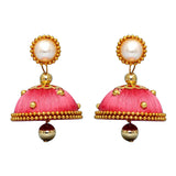 Pink thread pearl earring and stud - perfect for all occasions