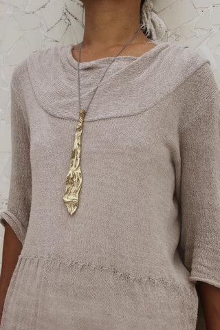 Agung Coral Long Pendent Gold - Worn by model