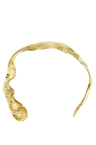 Dune Collar Necklace in polished brass! Front view