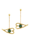 Heart Eye Dangler Earrings - Malachite