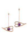 Heart Eye Dangler Earrings - Amethyst