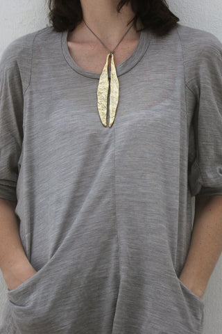 Quarry Long Leaf Pendent Gold Image - Worn by Model
