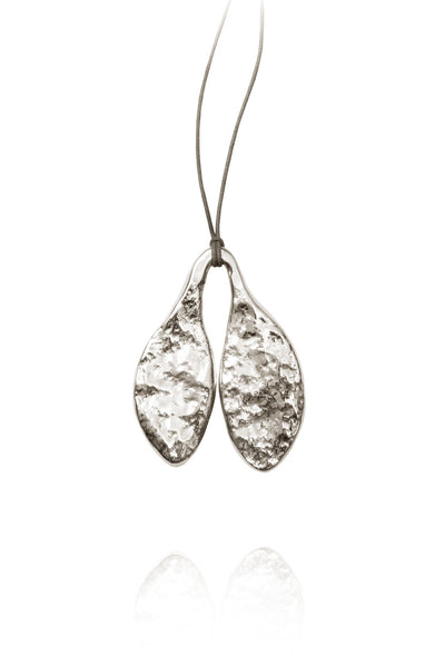 Quarry Small Leaf Pendent Silver Image - Front