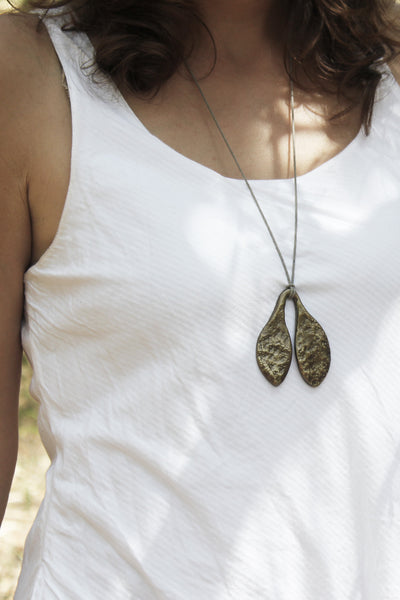 Espresso tone Quarry Small  Leaf Pendent worn by model!