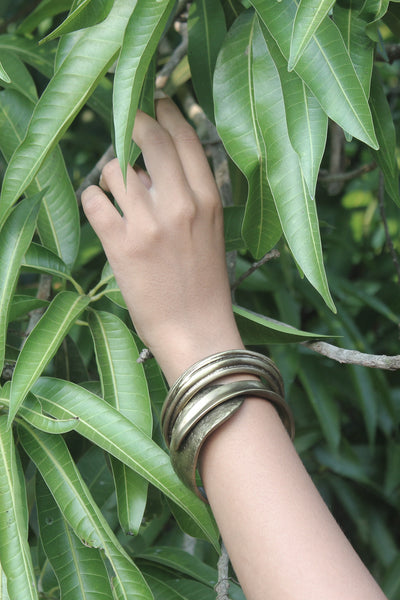 Quarry Wrapped Bracelet and Aether Bangle in Espresso tone!