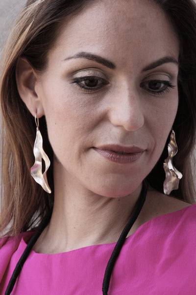Sirena Leaf Earrings in silverplate on you!