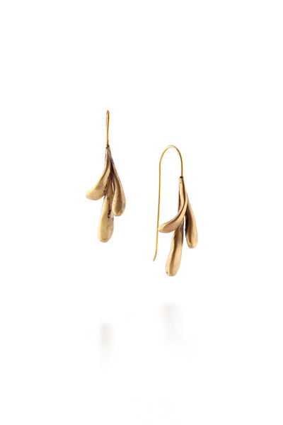 ManifestDesign - Sprout Droplet Earrings - Anti. Goldplate