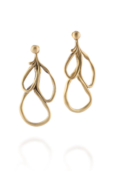 ManifestDesign - Sprout Leaf Earrings - Anti. Goldplate