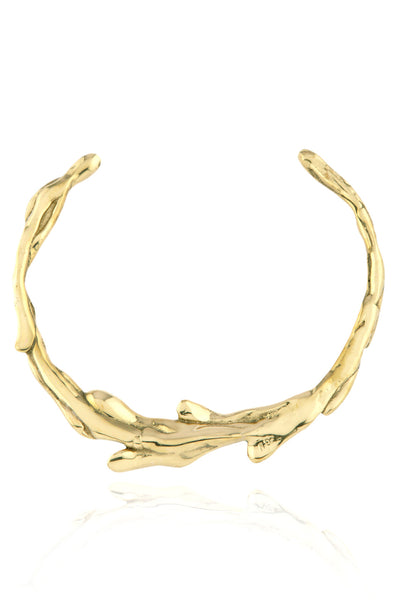 Sirena Collar Necklace in polished brass - back view