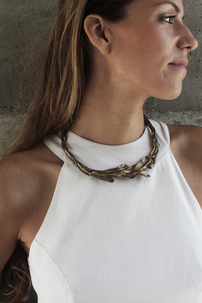 Sirena Collar Necklace in Espresso on you