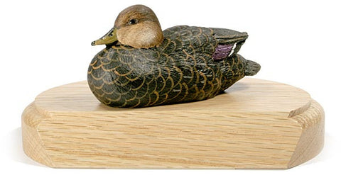 American Black Duck sculpture with Lowered Head on a Base