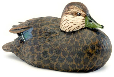 American Black Duck sculpture with Lowered Head