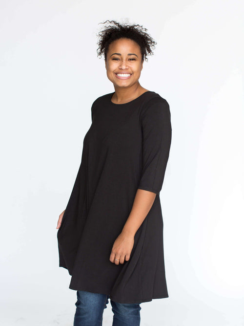 3/4 Swing Tunic Black Solid - Agnes & Dora™