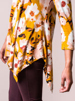 Handkerchief Tunic 3/4 Sleeve Gold Nutmeg Floral