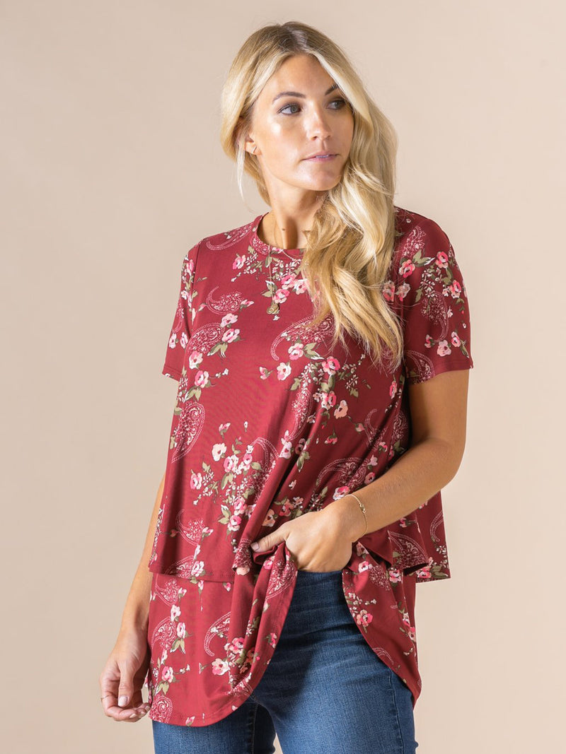 Tiered Tunic Burgundy Paisley