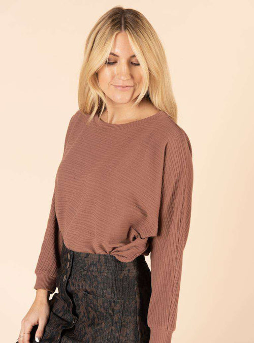 Batwing Sleeve Pullover Earth Brown - Agnes & Dora™
