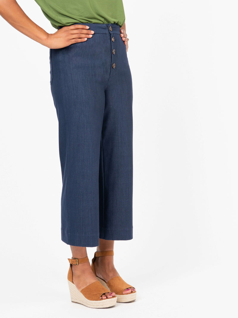 Button Fly Wide Leg Crop Dark Denim - Agnes & Dora™