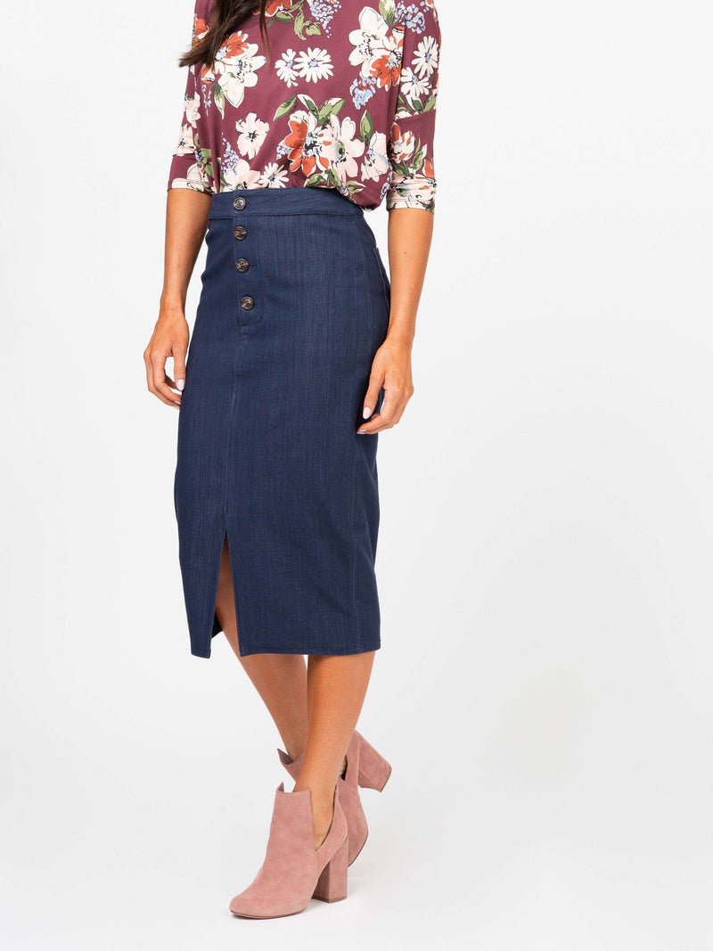 Button Pencil Skirt Dark Denim - Agnes & Dora™