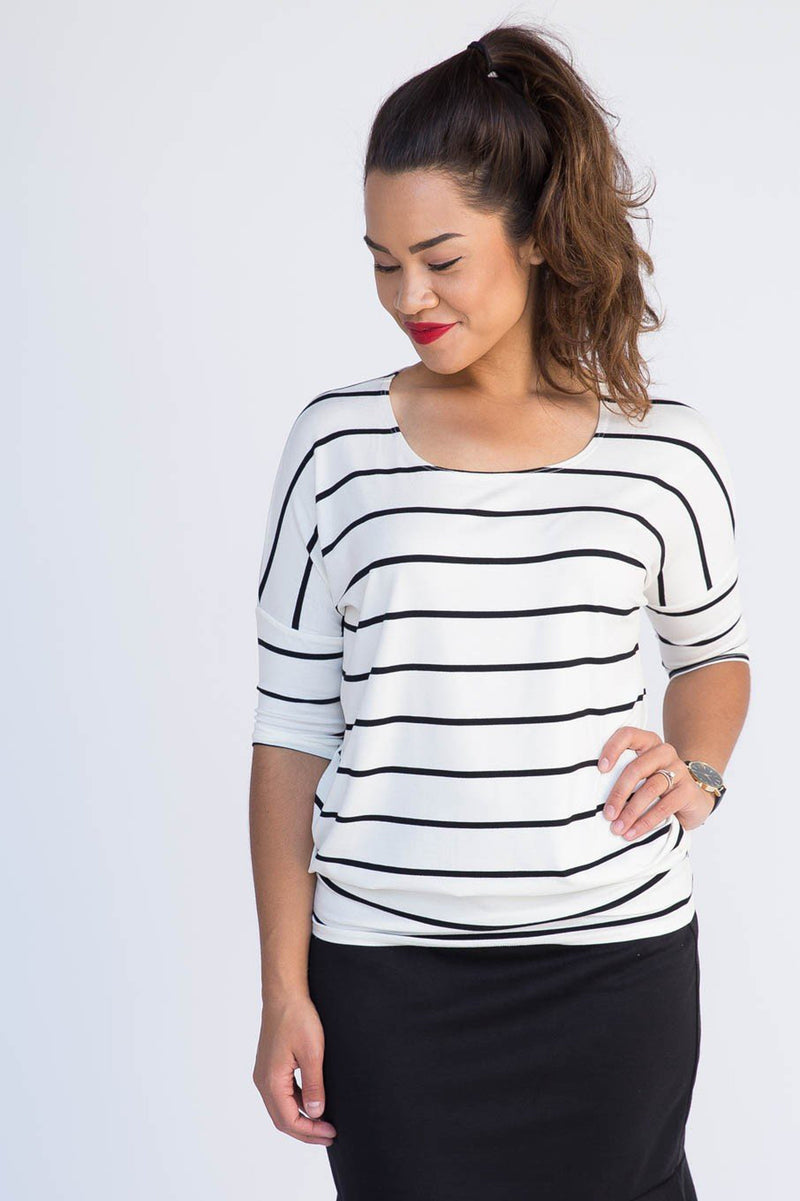 Dolman Tunic - Stripes & Ribbed