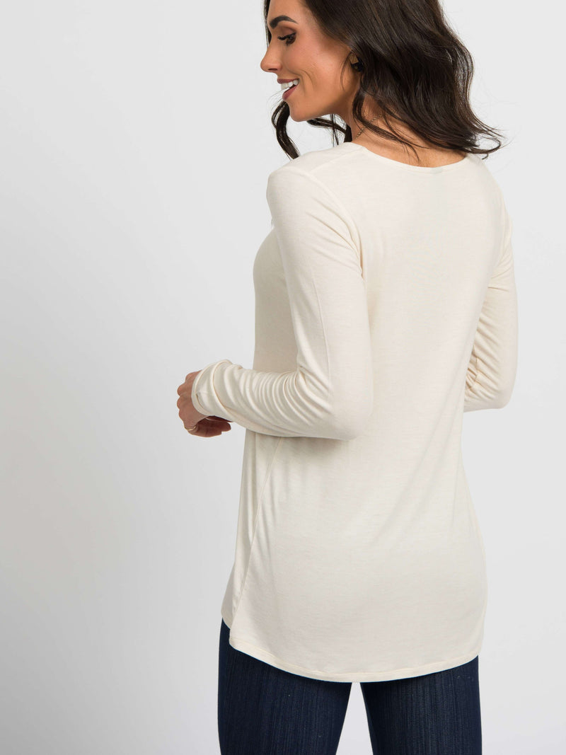 Fitted Tee Long Sleeve Heather Oatmeal - Agnes & Dora™