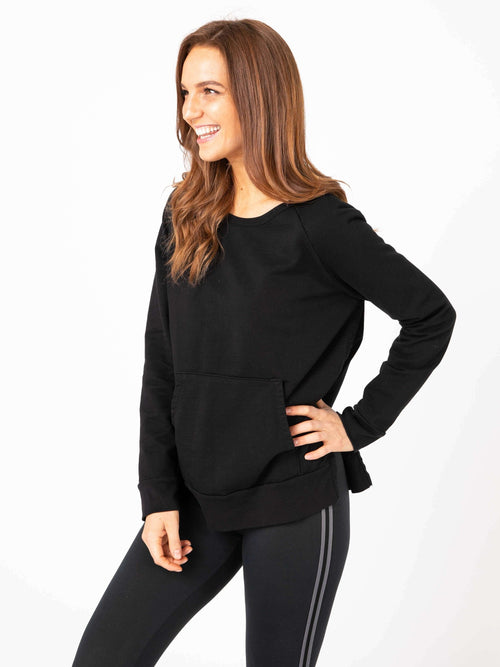 Front Pocket Pullover Black Clothing Agnes & Dora