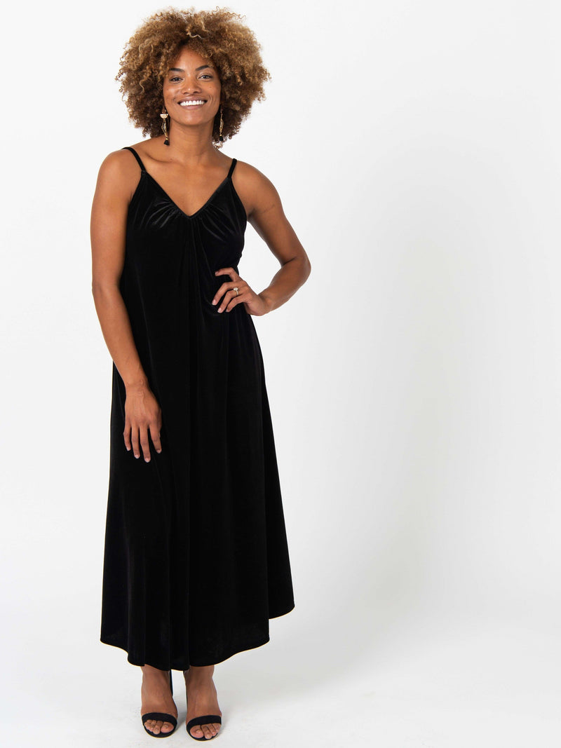 Gathered V-neck Jumpsuit Black - Velvet - Agnes & Dora™