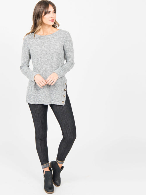 Side Button Tunic Black/Off White - Agnes & Dora™