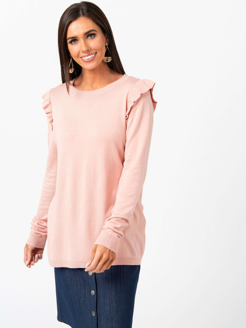 Sweater Ruffle Shoulder Rose Gold - Agnes & Dora™