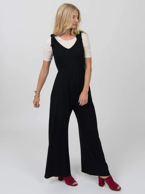 Tie Shoulder Jumpsuit Black - Agnes & Dora™