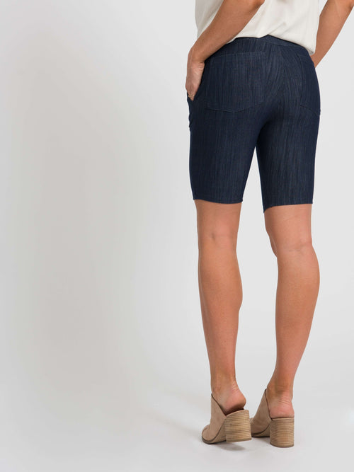 Trouser Short Dark Knit Denim - Agnes & Dora™