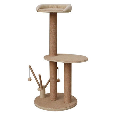 Citadel, 2 LVL, CAT TREE W/ Perch, Toy Stand, Beige - JT wagglepurr